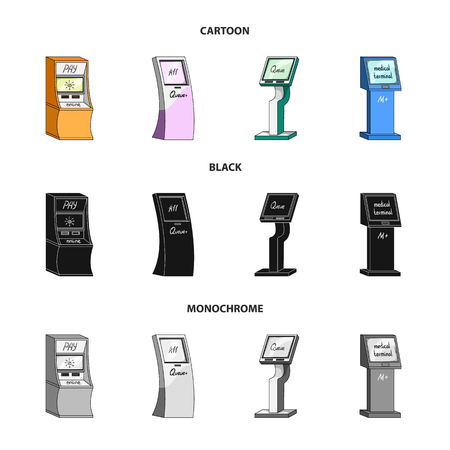 Medical terminal, ATM for payment,apparatus for queue. Terminals set collection icons in cartoon,black,monochrome style isometric vector symbol stock illustration web .