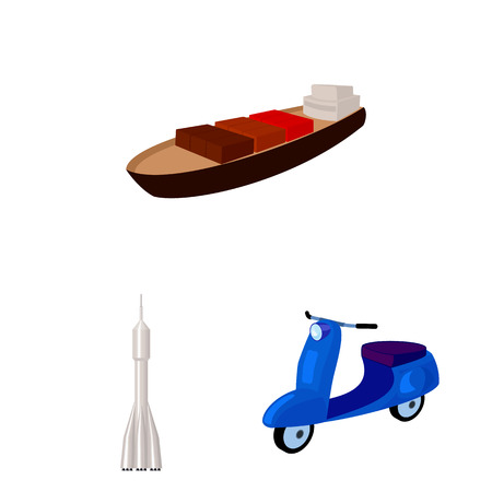Different types of transport cartoon icons in set collection for design. Car and ship bitmap symbol stock web illustration. Фото со стока