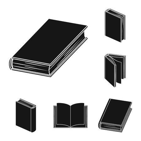 Book bound black icons in set collection for design. Printed products bitmap symbol stock web illustration. Stockfoto