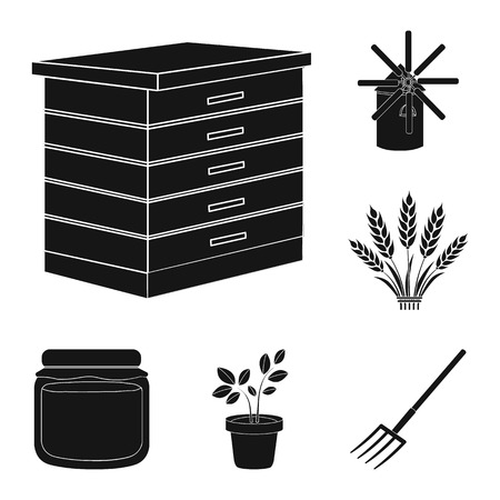 Farm and gardening black icons in set collection for design. Farm and equipment bitmap symbol stock web illustration. Archivio Fotografico
