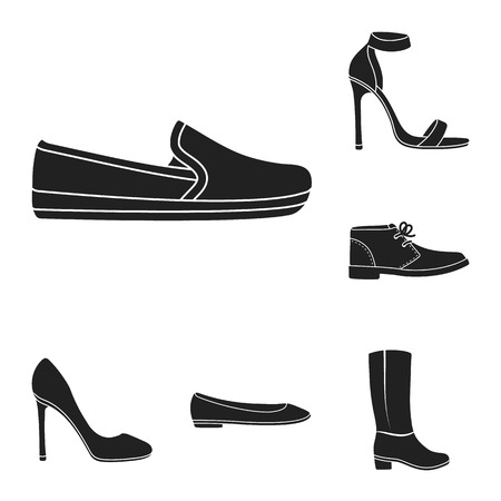 A variety of shoes black icons in set collection for design. Boot, sneakers bitmap symbol stock web illustration.