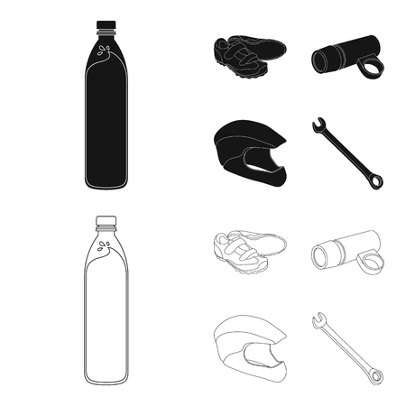 A bottle of water, sneakers, a flashlight for a bicycle, a protective helmet.Cyclist outfit set collection icons in black,outline style bitmap symbol stock illustration web.