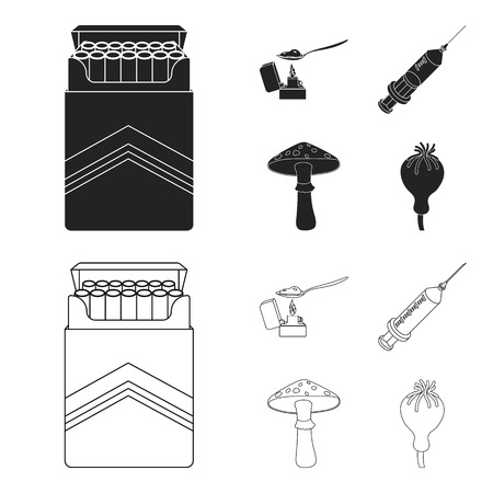 Cigarettes, a syringe, a galoyucinogenic fungus, heroin in a spoon.Drug set collection icons in black,outline style bitmap symbol stock illustration web. Stock Photo