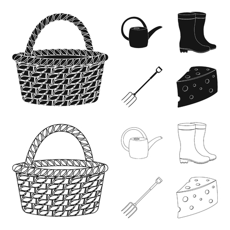 Basket wicker, watering can for irrigation, rubber boots, forks. Farm and gardening set collection icons in black,outline style bitmap symbol stock illustration web. Imagens