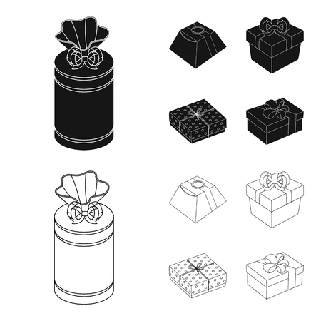Gift box with bow, gift bag.Gifts and certificates set collection icons in black,outline style bitmap symbol stock illustration web.