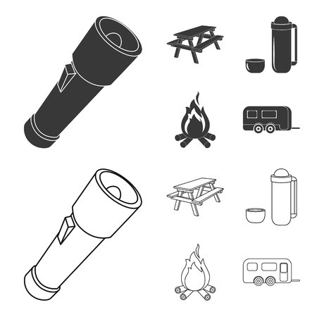 A flashlight, a table with a bench, a thermos with a cup, a caster. Camping set collection icons in black,outline style bitmap symbol stock illustration web.