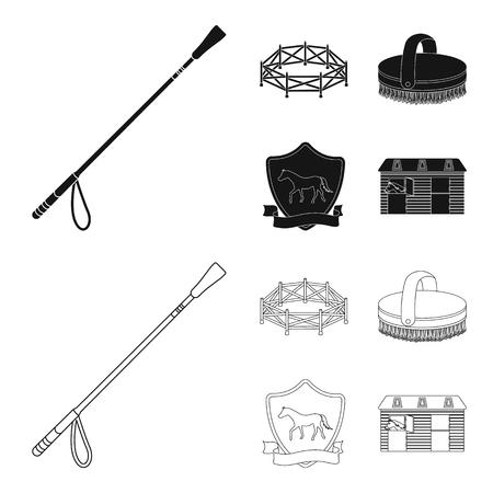 Aviary, whip, emblem, hippodrome .Hippodrome and horse set collection icons in black,outline style bitmap symbol stock illustration web. Banco de Imagens