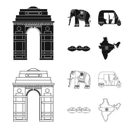 Country India black,outline icons in set collection for design.India and landmark bitmap symbol stock web illustration. 版權商用圖片