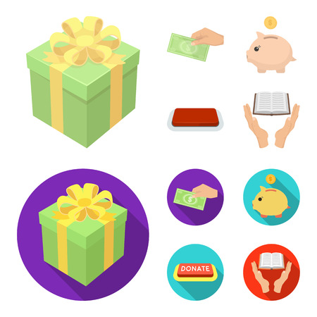 Hand with money for poshestvovaniya, a piggy bank for charity, a button with an inscription, a book for the blind in their hands. Charity and donation set collection icons in cartoon,flat style bitmap symbol stock illustration web.