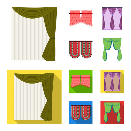 Curtains, stick, cornices, and other web icon in cartoon,flat style.Bow, fabric, tulle icons in set collection.