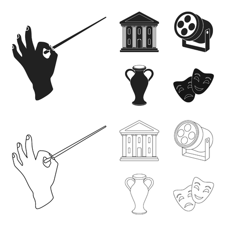 Conductors baton, theater building, searchlight, amphora.Theatre set collection icons in black,outline style bitmap symbol stock illustration web.