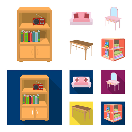 Soft sofa, toilet make-up table, dining table, shelving for laundry and detergent. Furniture and interior set collection icons in cartoon,flat style isometric bitmap symbol stock illustration web.