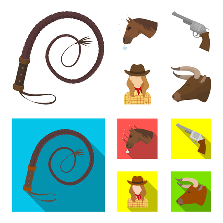 Head of a horse, a bulls head, a revolver, a cowboy girl. Rodeo set collection icons in cartoon,flat style bitmap symbol stock illustration web.