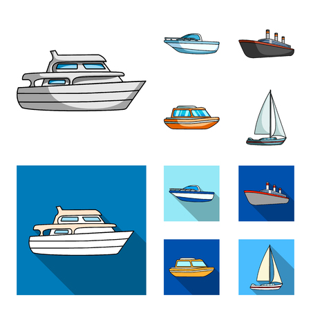 Protection boat, lifeboat, cargo steamer, sports yacht.Ships and water transport set collection icons in cartoon,flat style bitmap symbol stock illustration web. Фото со стока