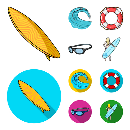 Oncoming wave, life ring, goggles, girl surfing. Surfing set collection icons in cartoon,flat style bitmap symbol stock illustration web.