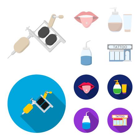 Piercing dans la langue, gel, sallon. Tatouage mis icônes de la collection en dessin animé, style plat bitmap symbole stock illustration web.