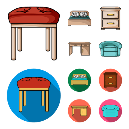 Interior, design, bed, bedroom .Furniture and home interiorset collection icons in cartoon,flat style bitmap symbol stock illustration web. Stockfoto