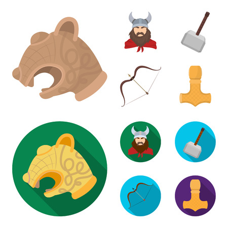 Viking in helmet with horns, mace, bow with arrow, treasure. Vikings set collection icons in cartoon,flat style bitmap symbol stock illustration web.