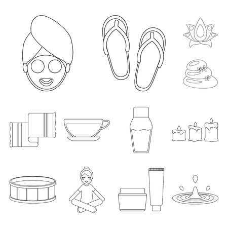 Spa salon and equipment outline icons in set collection for design. Relaxation and rest bitmap symbol stock web illustration.