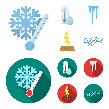 Humidity, icicles, thunderbolt, windy weather. Weather set collection icons in cartoon,flat style bitmap symbol stock illustration web.