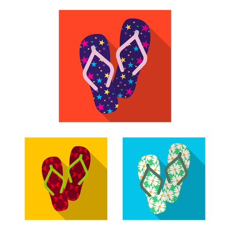 Flip-flops flat icons in set collection for design. Beach shoes vector symbol stock web illustration.