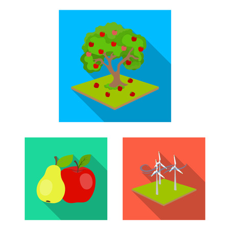 Farm and agriculture flat icons in set collection for design. Garden and plants isometric vector symbol stock web illustration. Stock Illustratie