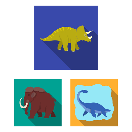 Different dinosaurs flat icons in set collection for design. Prehistoric animal vector symbol stock web illustration. Banco de Imagens - 106991069