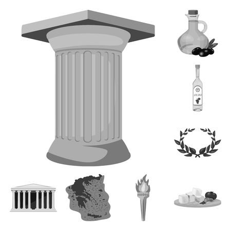 Country Greece monochrome icons in set collection for design.Greece and landmark vector symbol stock web illustration.