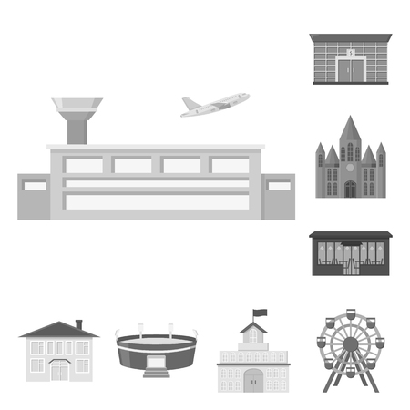 Building and architecture monochrome icons in set collection for design. Construction and Institution vector symbol stock web illustration. Illustration
