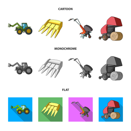 Motoblock and other agricultural devices. Agricultural machinery set collection icons in cartoon,flat,monochrome style vector symbol stock illustration web. Illustration