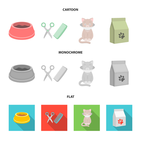 A bowl with food, a haircut for a cat, a sick cat, a package of feeds. at set collection icons in cartoon,flat,monochrome style vector symbol stock illustration web.