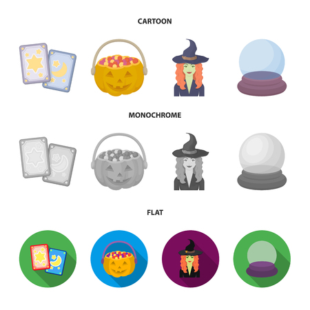 Tarot cards, holiday halloween, magician in a hat, crystal ball.Black and white magic set collection icons in cartoon,flat,monochrome style vector symbol stock illustration .