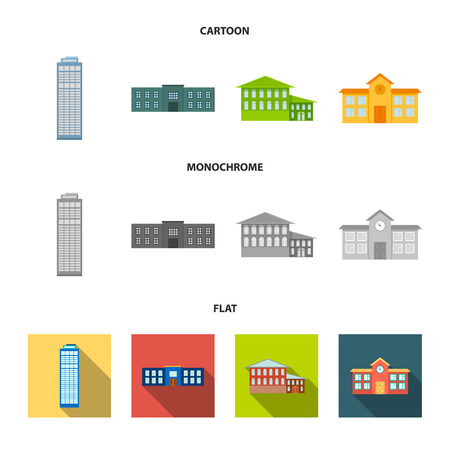 Skyscraper, police, hotel, school.Building set collection icons in cartoon,flat,monochrome style vector symbol stock illustration . Standard-Bild - 106969842