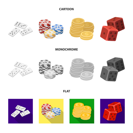 Domino bones, stack of chips, a pile of mont, playing blocks. Casino and gambling set collection icons in cartoon,flat,monochrome style vector symbol stock illustration web. Stock Illustratie