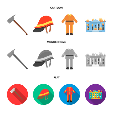 Ax, helmet, uniform, burning building. Fire departmentset set collection icons in cartoon,flat,monochrome style vector symbol stock illustration .