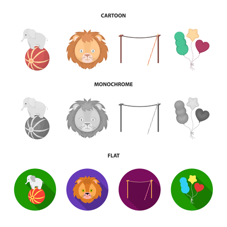 Elephant on the ball, circus lion, crossbeam, balls.Circus set collection icons in cartoon,flat,monochrome style vector symbol stock illustration web.