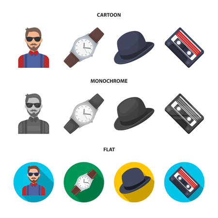 Hipster, fashion, style, subculture .Hipster style set collection icons in cartoon,flat,monochrome style vector symbol stock illustration web. 일러스트