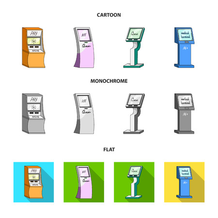 Medical terminal, ATM for payment,apparatus for queue. Terminals set collection icons in cartoon,flat,monochrome style isometric vector symbol stock illustration web .