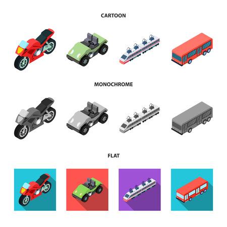 Motorcycle, golf cart, train, bus. Transport set collection icons in cartoon,flat,monochrome style vector symbol stock illustration web. Stock Illustratie
