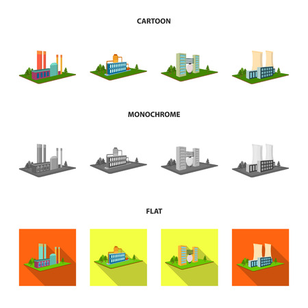 Processing factory,metallurgical plant. Factory and industry set collection icons in cartoon,flat,monochrome style isometric vector symbol stock illustration web. Иллюстрация