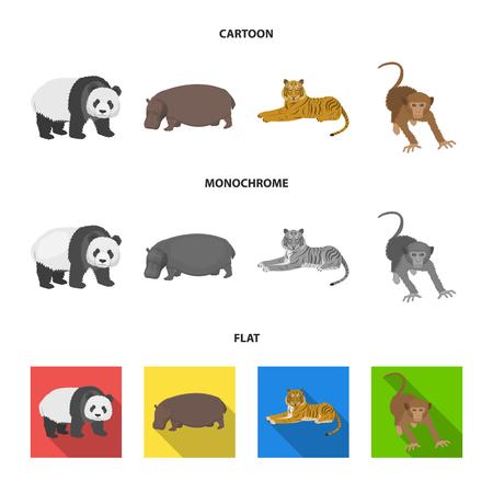 Bamboo bear, hippopotamus, wild animal tiger, monkey . Wild animal set collection icons in cartoon,flat,monochrome style vector symbol stock illustration web.