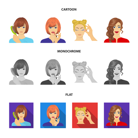 Hairdresser, cosmetic, salon, and other web icon in cartoon,flat,monochrome style.Means, hygiene, care icons in set collection. Illustration