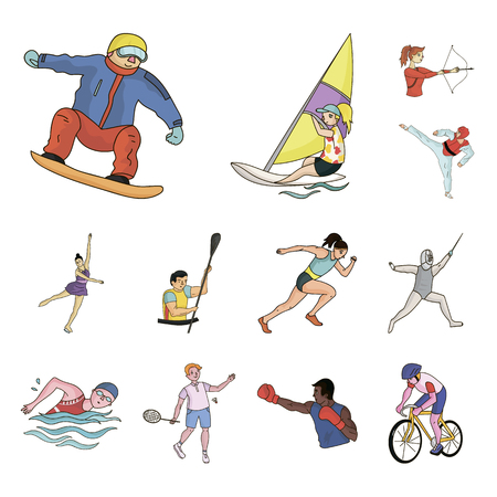 Different kinds of sports cartoon icons in set collection for design. Athlete, competitions vector symbol stock web illustration.