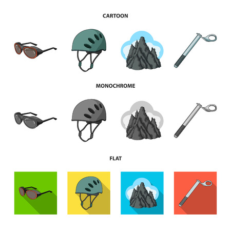 Helmet, goggles, wedge safety, peaks in the clouds.Mountaineering set collection icons in cartoon,flat,monochrome style vector symbol stock illustration web.