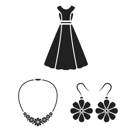 83ebdf7ac2e Clothes and accessories black icons in set collection for design. Shoes and  decoration bitmap symbol