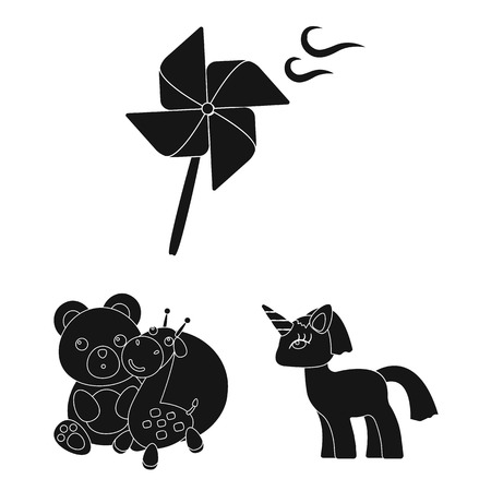 Childrens toy black icons in set collection for design. Game and bauble bitmap symbol stock web illustration. Foto de archivo