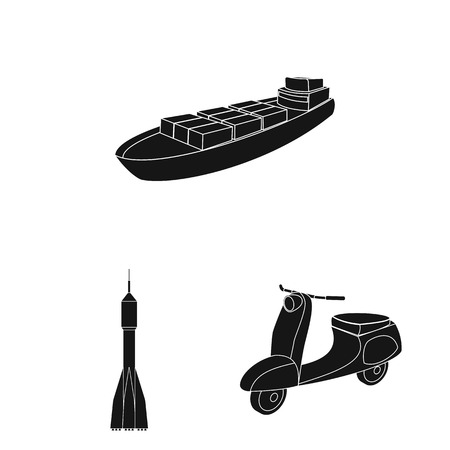 Different types of transport black icons in set collection for design. Car and ship bitmap symbol stock web illustration. 版權商用圖片