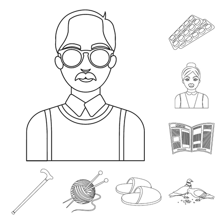Human old age outline icons in set collection for design. Pensioner, period of life bitmap symbol stock web illustration. Zdjęcie Seryjne