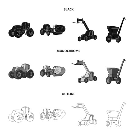 Tractor, hay balancer and other agricultural devices. Agricultural machinery set collection icons in black,monochrome,outline style bitmap symbol stock illustration web. Standard-Bild