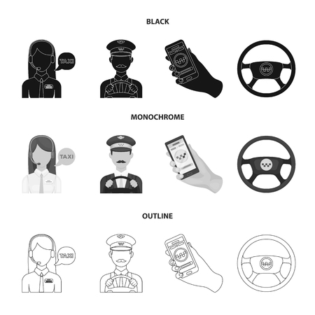 A taxi driver with a microphone, a taxi driver at the wheel, a cell phone with a number, a car steering wheel. Taxi set collection icons in black,monochrome,outline style bitmap symbol stock illustration web.